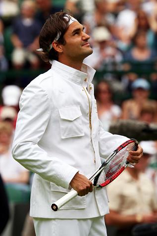 Roger Federer en la cancha central.