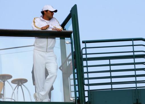 Federer relajandose antes del partido