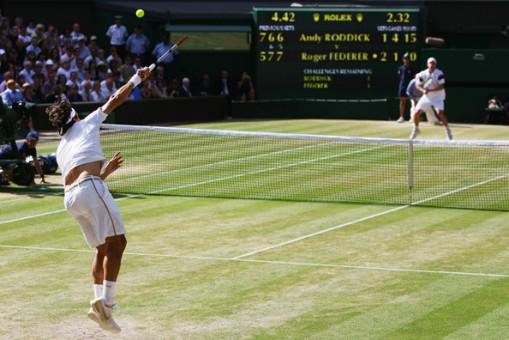 Federer en el comienzo del partido