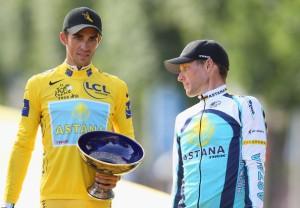 Contador y Armstrong en el podio