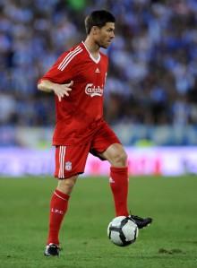Xabi Alonso en su último partido con el Liverpool el 2 de Agosto contra el Espanyol
